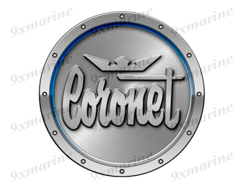 "Coronet Remastered Sticker. Brushed Metal Style - 7.5"" diameter"