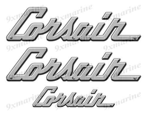 """Corsair boat Stickers """"3D Vinyl Replica"""" of originals - 10"""" long"""