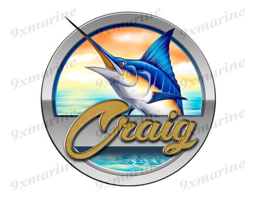 """Craig boat Marlin Round Designer Sticker 7.5""""x7.5"""""""