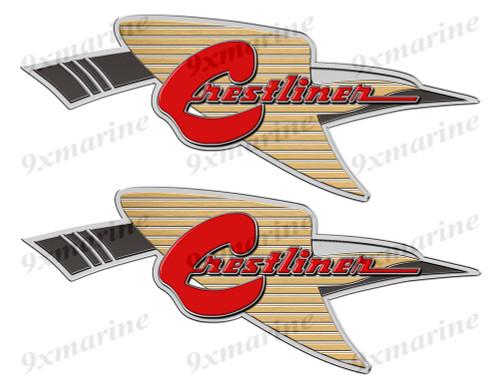 """2 Crestliner Bird Classic Vintage Stickers Remastered 10""""x4"""""""