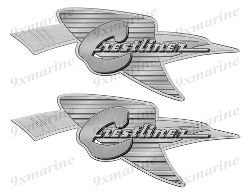 Crestliner 50s Oval Remastered Stickers. Brushed Metal Style - 10x4