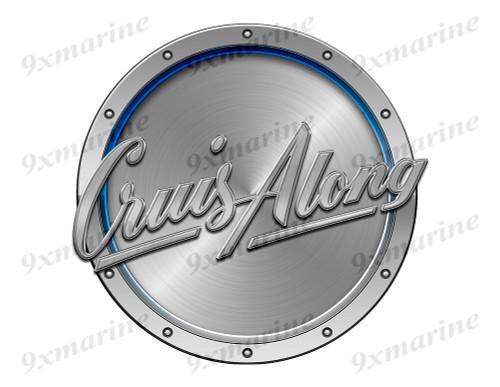 "Cruis Along Remastered Sticker. Brushed Metal Style - 7.5"" diameter"
