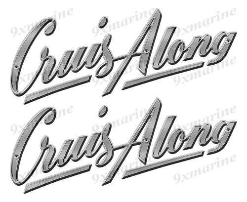 Cruis Along 50s Oval Remastered Stickers. Brushed Metal Style - 10x4