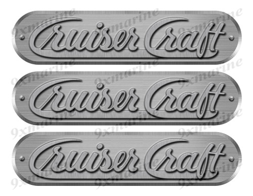 "3 Cruiser Craft Remastered Stickers. Brushed Metal Style - 10"" long"