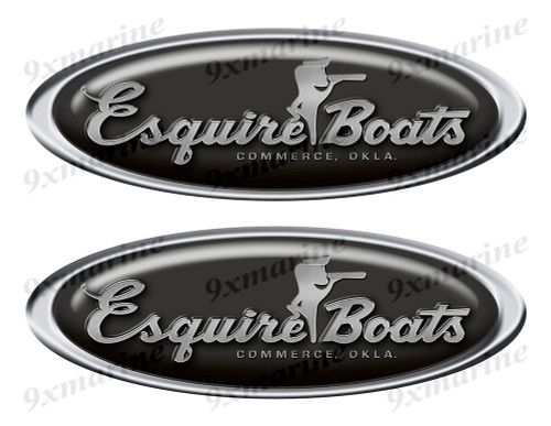 "Two Esquire Classic Oval Stickers 10"" long"