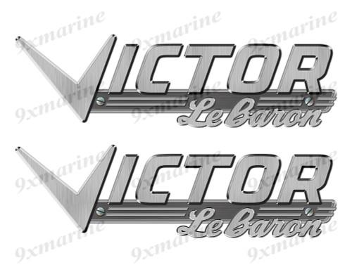 """Victor boat Stickers """"3D Vinyl Replica"""" of metal originals - 10"""" long"""