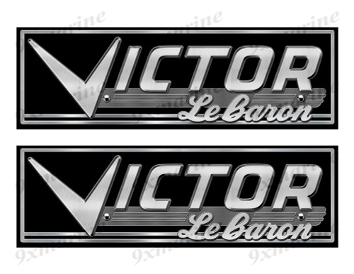 Victor boat Custom Stickers - 10 inch long set. Remastered Name Plate