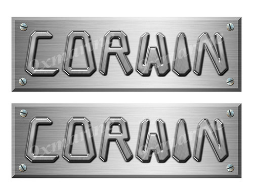 """Corwin Remastered Stickers. Brushed Metal Style - 10"""" long"""