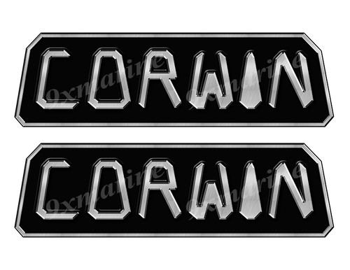 Corwin boat Custom Stickers - 10 inch long set. Remastered Name Plate