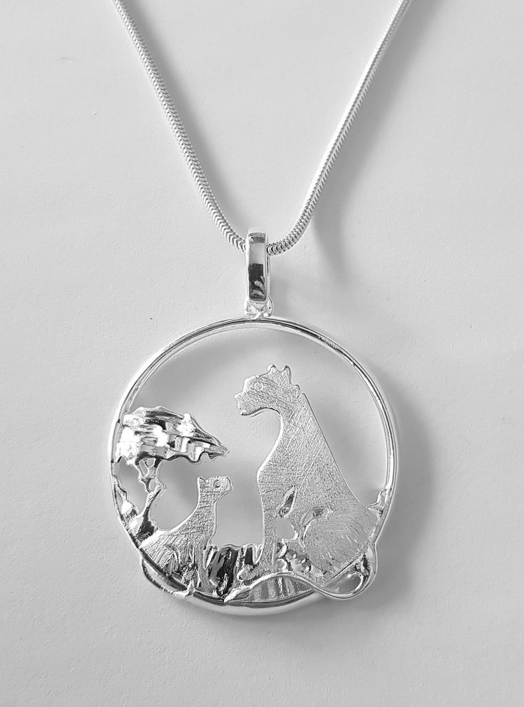 Lion King necklace on snake chain - 925 Sterling Silver - 70 cm long