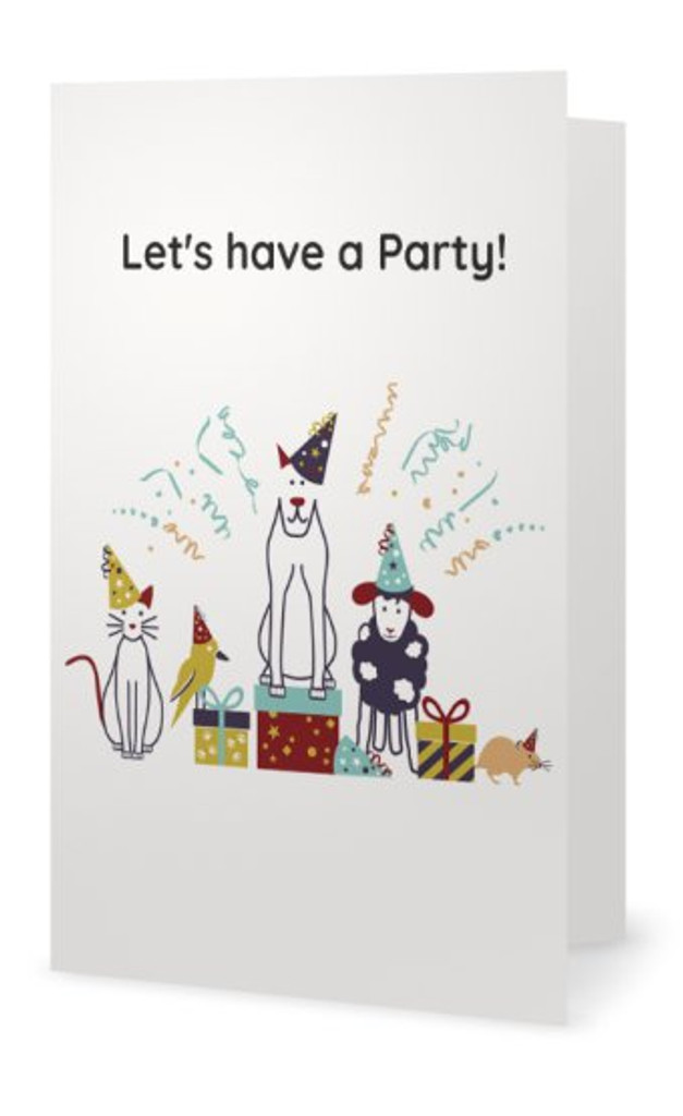 "Animales Birthday Card ""Let's have a Party!"""