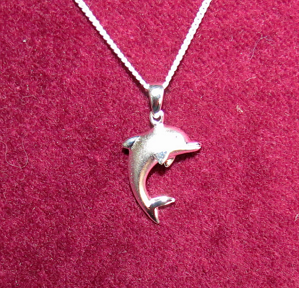 Dolphin pendant  with 45 cm  silver chain