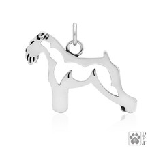 Schnauzer, Natural Ears, Body pendant -  - 925 recycled Sterling Silver