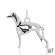 Whippet with Bunny, Body pendant  - 925 recycled Sterling Silver
