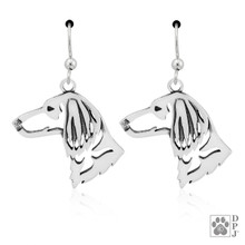 Dachshund Long Hair Heads - 925 recycled Sterling Silver Earrings