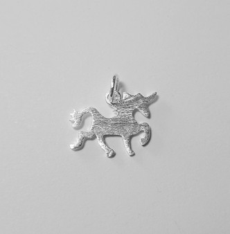 Unicorn pendant - 925 Sterling Silver - matted