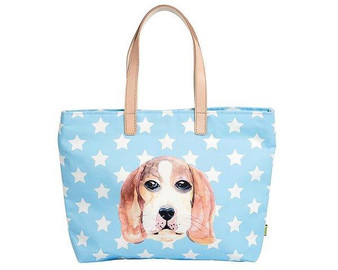Ginger Shopping Bag - Hound Dog - blue with stars
