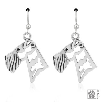 Airedale, Heads - 925 recycled Sterling Silver Earrings