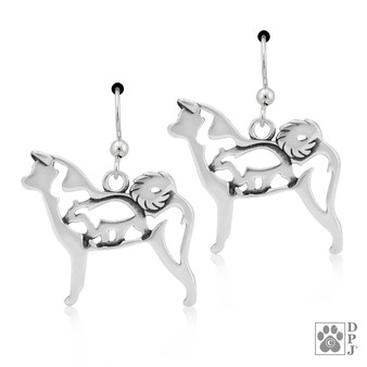 Akita with bear in Body - 925 recycled Sterling Silver Earrings