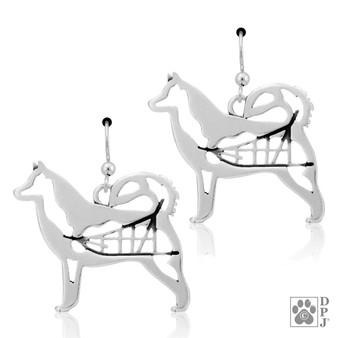 Alaskan Malamute Body - 925 recycled Sterling Silver Earrings