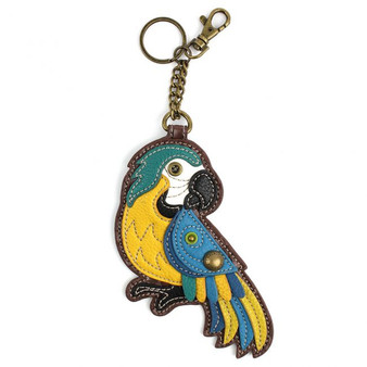 Blue Parrot - Keyring/Bag Charm  with zipper coin purse