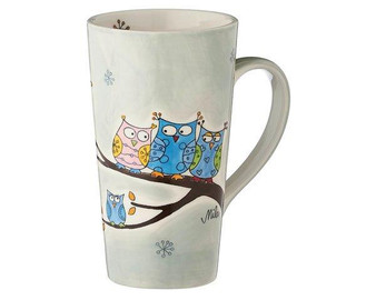 Owl Family Cafe Latte Mug -  350 ml - ceramic - hand painted - Mila