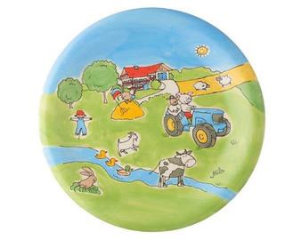 Farm Plate - hand painted - ceramic - Mila
