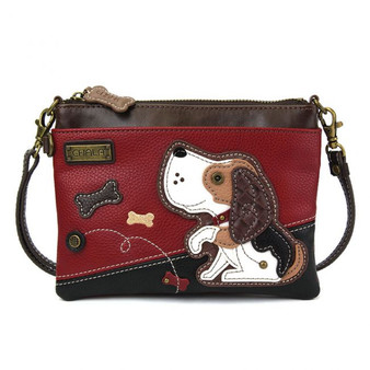 Beagle Dog - Mini Cross Body Bag - Red/black - Faux Leather