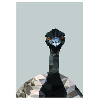 Emu art print  - size A4 - made in Australia