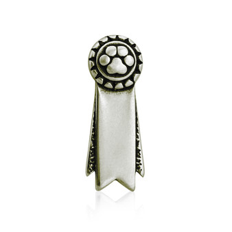 Ribbon Paws Rosette Pin / Tie Tack - White Bronze