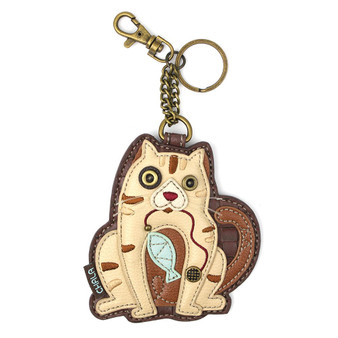 Cat shaped key charm, faux leather, brown beige, front view