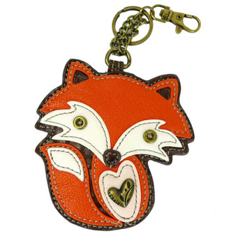 Foxshaped key charm, faux leather, orange - white, front view