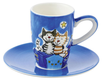 Espresso cup set - Nightcats - ceramic - hand painted