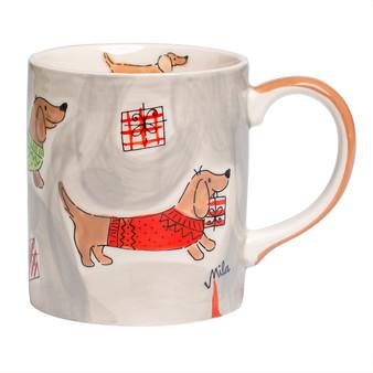 Christmas Mug - Sausage Dog with Gifts - 280 ml - hand-painted ceramic