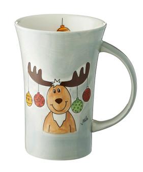 Elk Theo Christmas Coffee Mug - 500 ml - hand painted ceramic