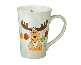 Elk Theo Christmas Tea Mug - 350 ml - hand painted ceramic