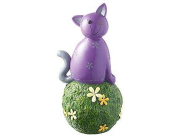 Garden Décor figure - Carlo cat purple - on grass ball - 34 cm