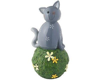 Garden Décor figure - Carlo cat grey - on grass ball - 34 cm