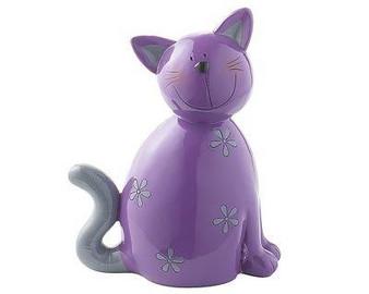 Décor Figure - Carlo cat - purple - 18 cm - hand painted