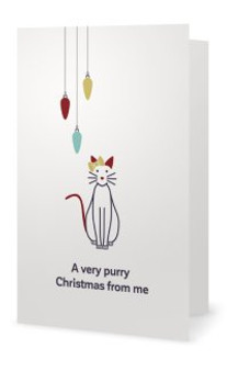 """Animales Christmas Card """"A very purry Christmas from me"""""""