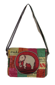 Shoulder Bag - Patch Square - Elephant - Fairtrade