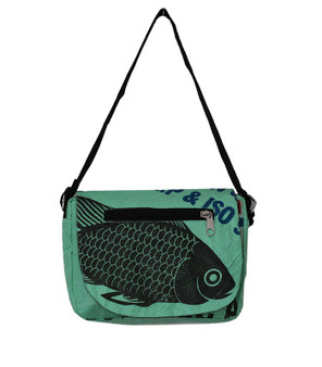 Shoulder Bag  Fish - mint - made of recycled fish food bags - Fairtrade