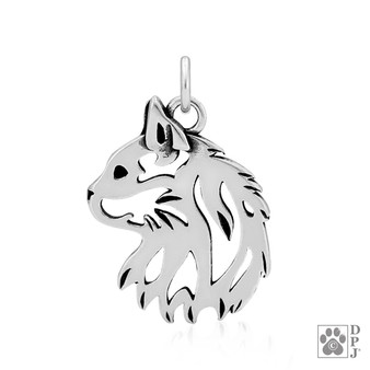 925 Sterling silver charm showing a longhaired cat head