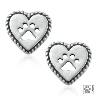 Roped into your Love - heart ear studs - 925 recycled Sterling Silver