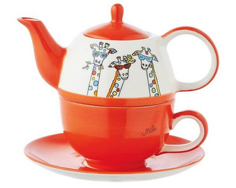 Tea for one Set  - Giraffe - 400 ml - ceramic - hand painted