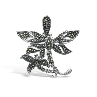 Dragonfly Marcasite Pendant - 4 cm - 925 Sterling silver