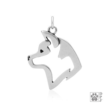 Akita, Head pendant - 925 recycled Sterling Silver