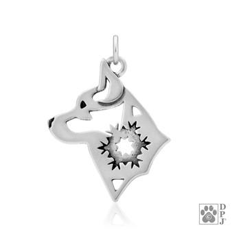 Alaskan Klee Kai w/Snowflake, Head pendant  - 925 recycled Sterling Silver