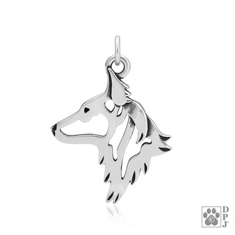 Dutch Shepherd, Head pendant - 925 recycled Sterling Silver