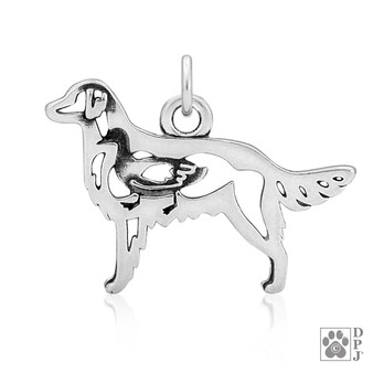 Flat-Coated Retriever, Body pendant - 925 recycled Sterling Silver